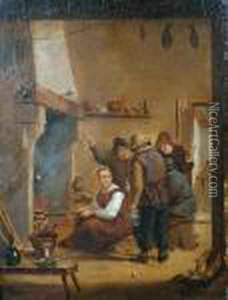 Interior With Peasants Beside A Fire Oil Painting - David The Younger Teniers