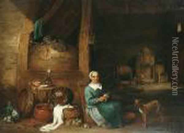 A Woman Peeling Apples In An Interior Oil Painting - David The Younger Teniers