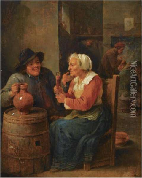 An Interior Scene With A Man And An Elderly Woman Oil Painting - David The Younger Teniers