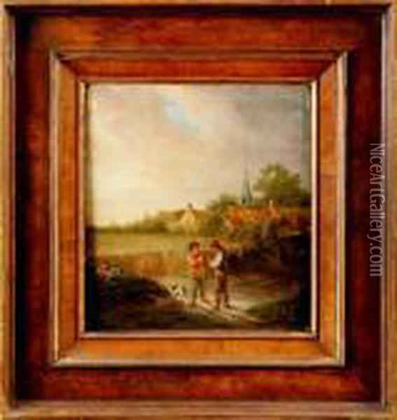 Samtalande Bonder Oil Painting - David The Younger Teniers