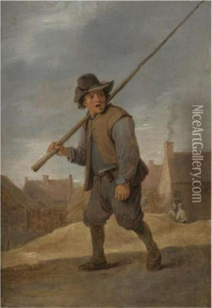 A Chimneysweep Passing Through A Village Oil Painting - David The Younger Teniers