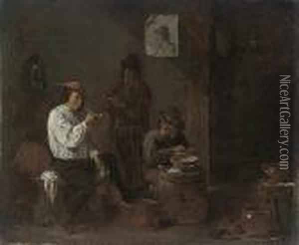 Peasants Smoking In A Tavern Oil Painting - David The Younger Teniers
