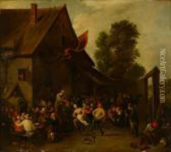 Peasants Merrymaking Outside A Tavern Oil Painting - David The Younger Teniers