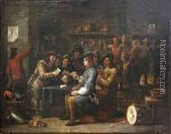 La Partie De Cartes Dans Une Taverne Oil Painting - David The Younger Teniers