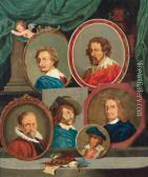 Funf Portrats Von Malern Oil Painting - David The Younger Teniers