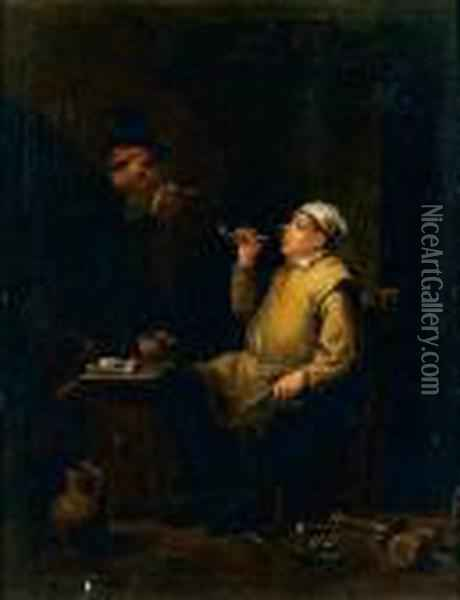 Deux Fumeurs Autour D'une Table Oil Painting - David The Younger Teniers