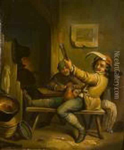 Men Drinking In An Inn Oil Painting - David The Younger Teniers