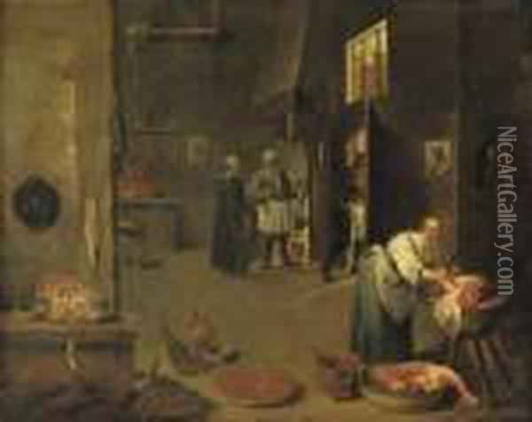 A Peasant Woman Cutting Meat In A Kitchen, Figures Conversing Neara Fireplace Beyond Oil Painting - David The Younger Teniers