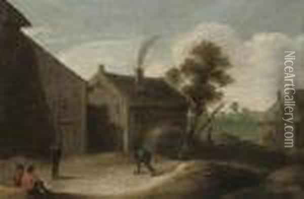 Peasants Playing Skittles Ouside An Inn Oil Painting - David The Younger Teniers