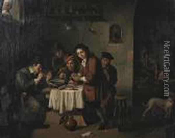 Figures In An Interior Oil Painting - David The Younger Teniers