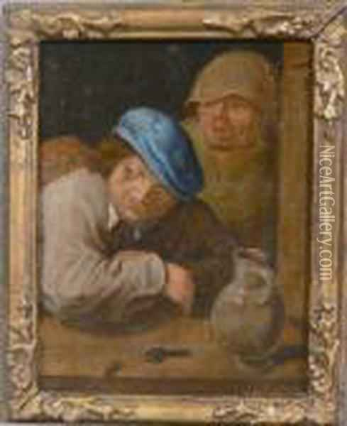 Interno Con Figure Oil Painting - David The Younger Teniers