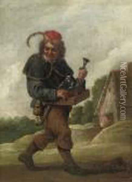 A Pedlar On A Track, Carrying 