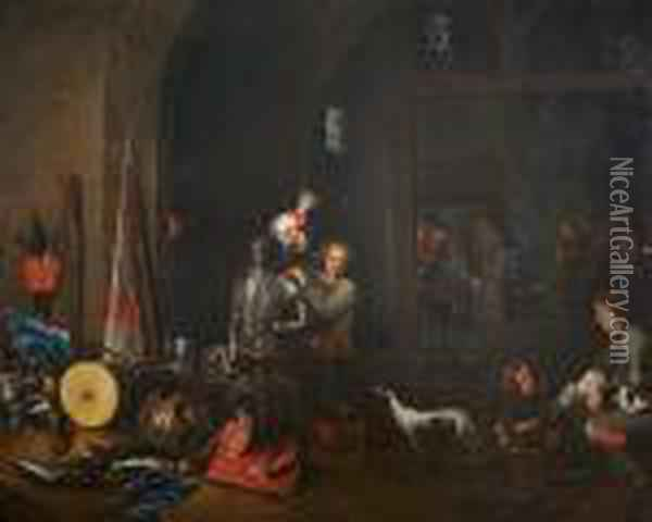 Lot 1 : Studio Of David Teniers  The Younger, , The Interior Of A Guardroom With Militiament And Boors  Playing Cards Oil Painting - David The Younger Teniers