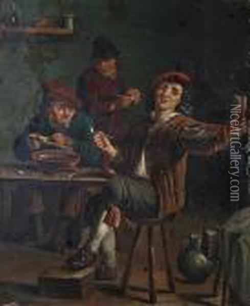 An Interior Scene With Figures At A Table In An Inn; Together With Another Similar Oil Painting - David The Younger Teniers