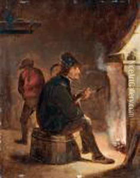 Uomo Che Fuma La Pipa Seduto Accanto Al Camino Oil Painting - David The Younger Teniers