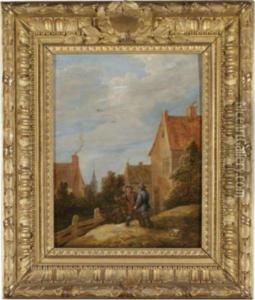Peasants On A Road In A Village Oil Painting - David The Younger Teniers