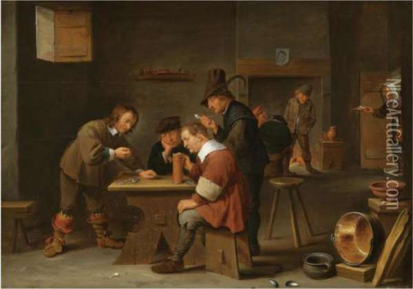 A Tavern Interior With Peasants Drinking, Smoking And Gambling Oil Painting - David The Younger Teniers