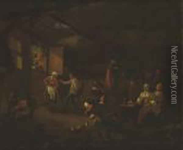 Revellers Inside A Tavern Oil Painting - David The Younger Teniers