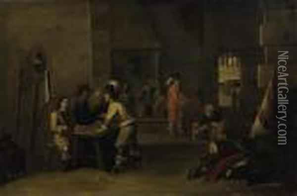 Interior With Soldiers Playing  Games. Subsequently Denoted On The Table: David Teniers 1644 Oil Painting - David The Younger Teniers