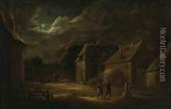 A Moonlit Village Street With Peasants And A Dog Oil Painting - David The Younger Teniers