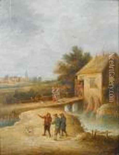 A Village Inn Beside A River, Peasants With Their Dog In The Foreground Oil Painting - David The Younger Teniers