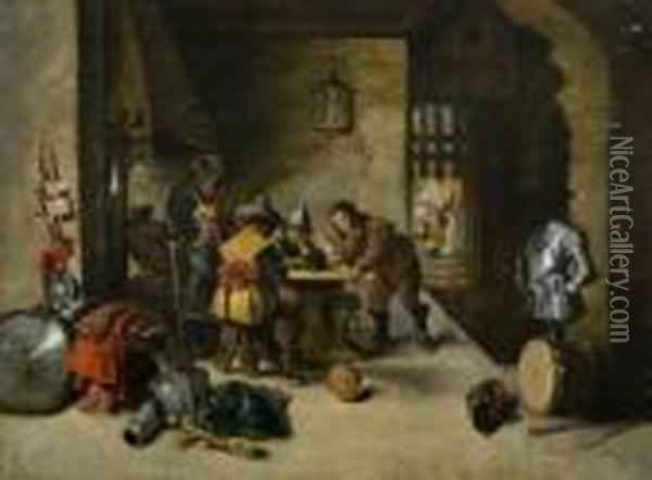 Interior De Taberna Oil Painting - David The Younger Teniers