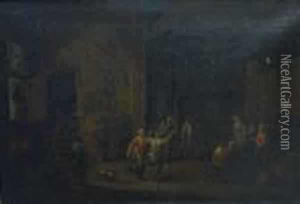 Interior Of An Inn With Peasants Merrymaking Oil Painting - David The Younger Teniers