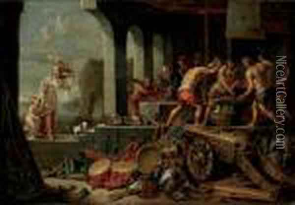 Venus And Cupid At Vulcan's Forge Oil Painting - David The Younger Teniers