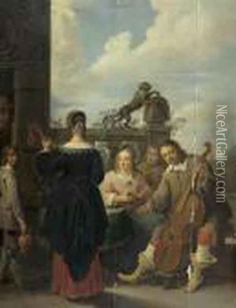 Musikspieler. Oil Painting - David The Younger Teniers