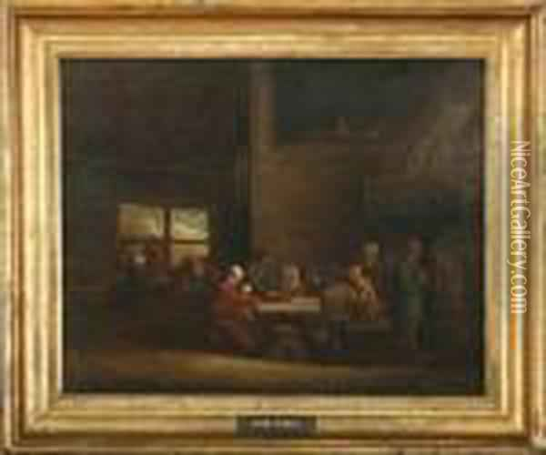 Interieor From An Inn Oil Painting - David The Younger Teniers
