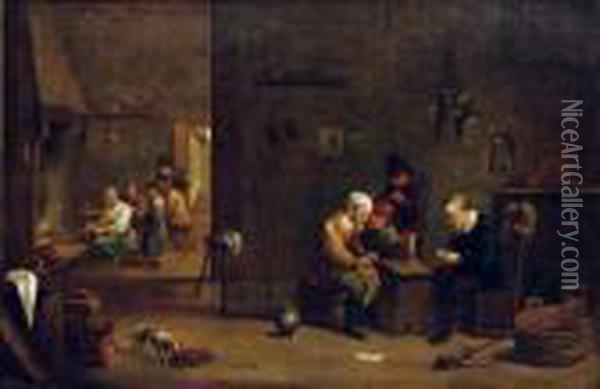 Peasants Playing Cards, Smoking 
