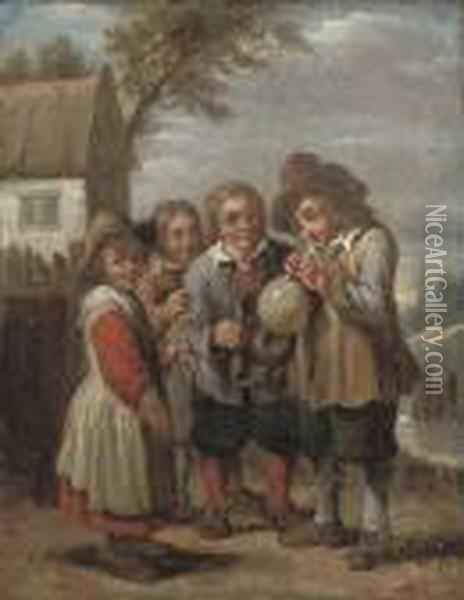 Children Blowing A Bladder Oil Painting - David The Younger Teniers