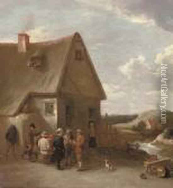 Peasants Conversing By A Cottage Oil Painting - David The Younger Teniers