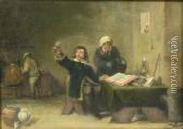 An Alchemist And His Assistant In An Oil Painting - David The Younger Teniers