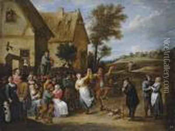 A Village Inn With Peasants Dancing And Making Merry To The Music Of A Fiddler Oil Painting - David The Younger Teniers