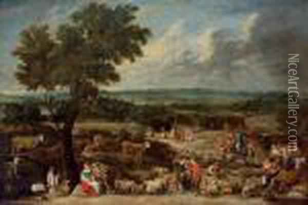 A Livestock Market In An Extensive Landscape With Antwerp In The Distance Oil Painting - David The Younger Teniers