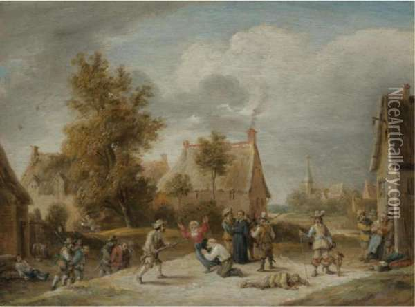 Soldiers Looting A Village Oil Painting - David The Younger Teniers