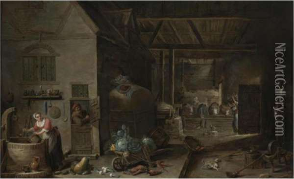 Interior Of A Farmhouse With Figures And Animals Oil Painting - David The Younger Teniers