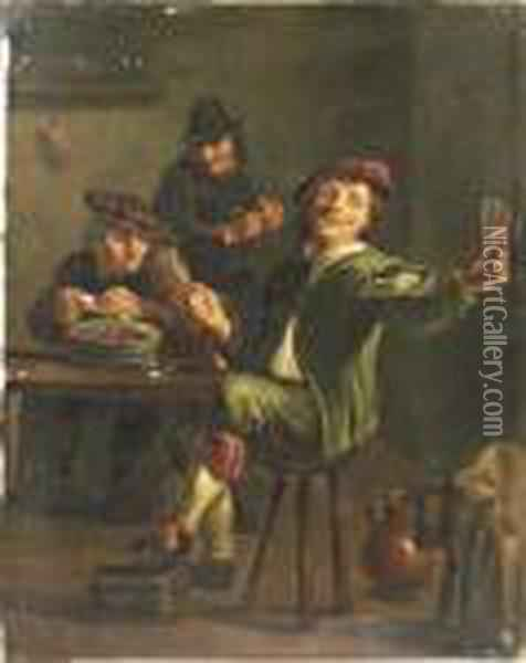 Peasants Carousing In An Interior Oil Painting - David The Younger Teniers