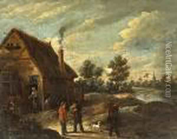 An Extensive Landscape With Figures Outside A Cottage Oil Painting - David The Younger Teniers