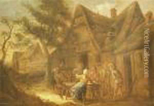 Peasants Outside A Tavern Oil Painting - David The Younger Teniers