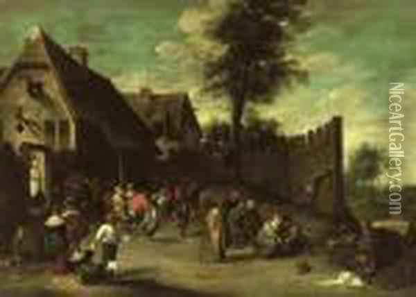 Peasants Feasting And Dancing Outside An Inn Oil Painting - David The Younger Teniers