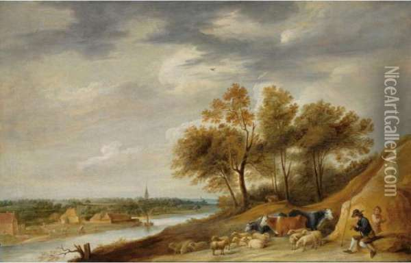 A Panoramic River Landscape With  Shepherds Resting With Their Herd On A Bank, With One Shepherd Playing  The Flute Oil Painting - David The Younger Teniers