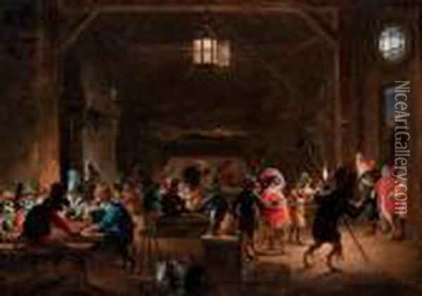 Guardroom With Monkeys Oil Painting - David The Younger Teniers
