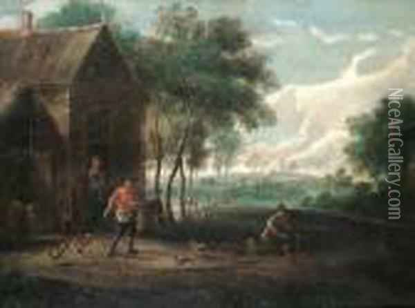A Farmyard Scene With Chickens And A Cowbears Signature 'wm Collins' (lower Left) Oil Painting - David The Younger Teniers