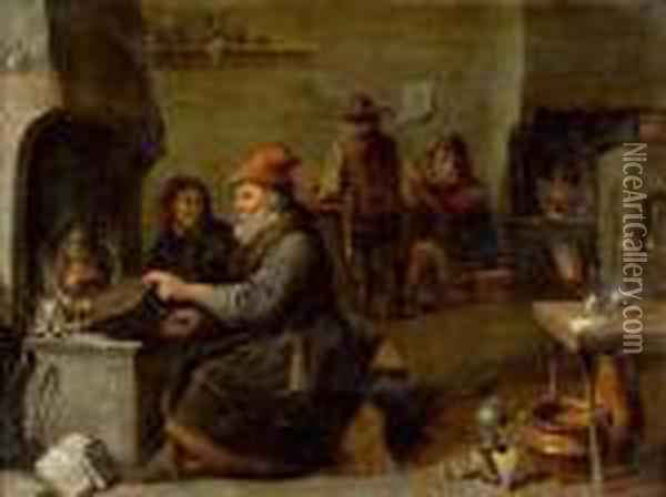 Alchemistenkuche. Oil Painting - David The Younger Teniers