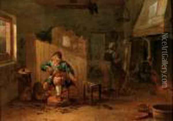 A Cobbler In His Workshop Oil Painting - David The Younger Teniers