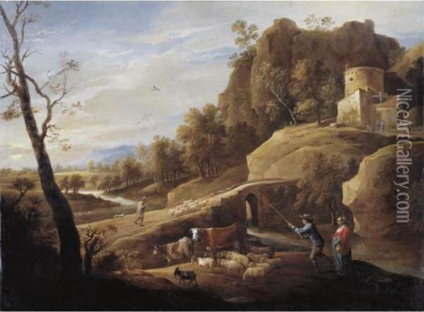 Landscape With A Shepherd And Shepherdess And Their Flock Along A Path Oil Painting - David The Younger Teniers