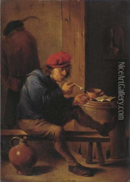 Smoker Lighting A Pipe Oil Painting - David The Younger Teniers