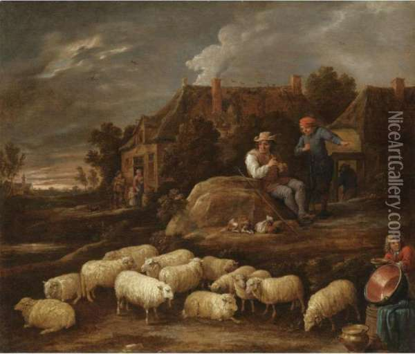 A Pastoral Village Landscape  With A Shepherd Resting His Flock, A Boy Collecting Water In The  Foreground Oil Painting - David The Younger Teniers